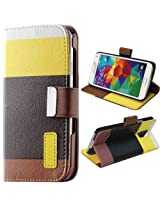 JKase PU Leather Wallet Type Magnet Design Flip Case Cover with Credit / Business Card Holder For Samsung Galaxy S5 - Yellow/Black