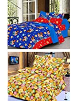 Nature Made Pack of 2 Yellow & Blue Printed Double Bed Sheets 250 TC