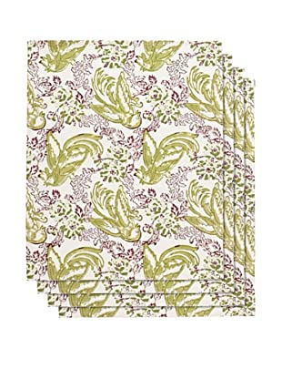Couleur Nature Set of 4 Batik Bird Napkins, Mauve/Green