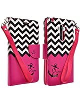 LG G Stylo (Sprint, MetroPCS, Boost Mobile) Case - Magnectic Leather Folio Flip Book Wallet Pouch Case Cover With Fold Up Kickstand and Detachable Wrist Strap (Hot Pink Anchor)