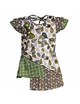 Lil Poppets Girls' Geometric Pattern Dress [Lilpoppets-097_Olive Green_(8-9 Years)]