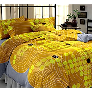 My Room 100% Cotton Printed Bedsheet Set 5104B (Yellow, Double)