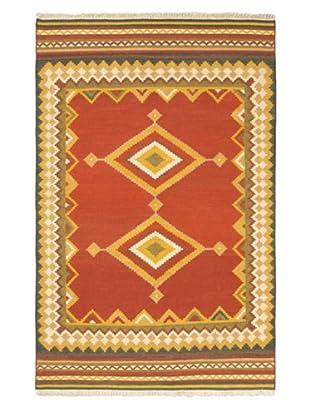 Hand Woven Izmir Wool Kilim, Red, 5' 1