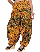 Exotic India Printed Harem Trousers from Pilkhuwa - Color Warm ApricotGarment Size Free Size