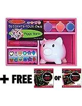 Ceramic Piggy Bank Decorate-Your-Own Kit + FREE Melissa & Doug Scratch Art Mini-Pad Bundle [31080]