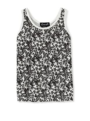 A for Apple Jam Tank with Leaves Print (White)
