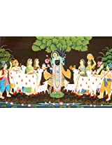 Exotic India Adoration of Shrinathji (Lord Krishna) at Nathdwara - Water Color Painting On Silk Fabr