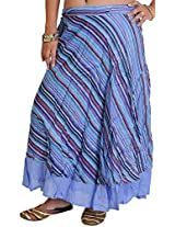 Exotic India Wrap-Around Layered Midi Skirt with All-Over Woven Stripes - Color Wedgewood PurpleGarment Size Free Size