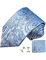 Paul Malone Necktie, Pocket Square and Cufflinks 100% Silk Blue Paisley