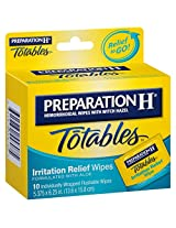 Preparation H Hemorrhoidal with Witch Hazel Wipes, Totables Irritation Relief, 10 Individual Wipes