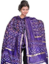 Exotic India Bandhani Tie-Dye Gharchola Dupatta from Gujarat with Golden Thread - Color Prism VioletColor Free Size
