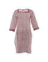 Amaya Women's Cotton Regular Fit kurti (Amaya025_M, White and cherry red , M)