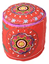 Ethnic Ottoman Red Cotton Floral Embroidered Pouf Cover By Rajrang