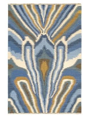 Hand Woven Ankara Flatweave Kilim, Blue, 4' 8
