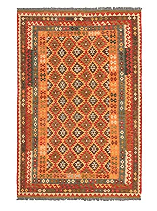 Hand Woven Kashkoli Wool Kilim, Orange/Red, 6' 8