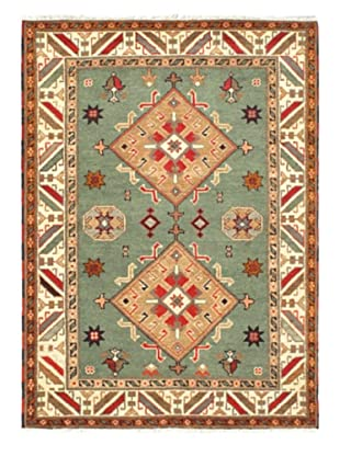 Hand-Knotted Royal Kazak Rug, Teal, 4' 8