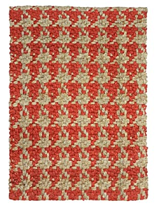 Classic Home Houndsooth Hand-Spun Jute Rug (Lava/Natural)