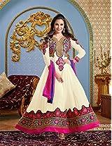Lara Dutta OffWhite Designer Neck Floor Touch Anarkali Suit