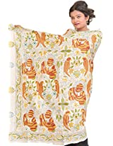Exotic India Egret-White Dupatta from Bengal with Kantha Embroidered Lad - White