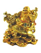 Varanasi Enterprisesfeng feng shui laughing buddha with dragon tortoise on bed of wealth