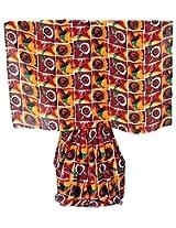 DollsofIndia Red,Orange,Black and White Floral Printed Georgette Saree - Georgette - Multicolor