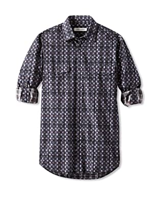 James Campbell Men's Aulander Plaid & Floral Shirt (Navy)