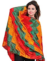 Exotic India Phulkari Hand-Embroidered Dupatta from Punjab - Color Tomato RedColor Free Size