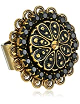 "Liz Palacios ""Piedras"" Swarovski Crystal and Marcasite Gold-Plated Button Ring, Size 7"