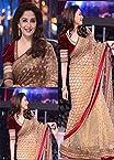 High5store Madhuri Dixit Designer Net Saree - Beige