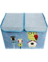UberLyfe Blue Double Flap Kids Storage Box with Green Owl and Friends - Large