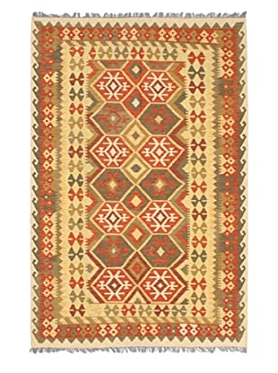 Hand Woven Hereke Wool Kilim, Copper/Light Yellow, 5' 4
