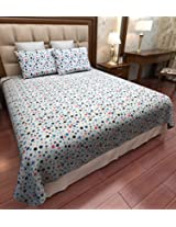 Amethyst Multi-Dots Cotton Double Bedsheet with 2 Pillow Covers - Multicolor