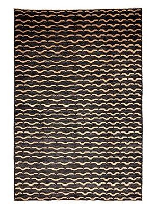 Darya Rugs Modern Oriental Rug, Black/Mustard, 6' 6