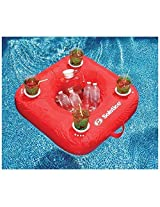 Solstice Sun Soft Comfortable Swimmimg Pool Inflatable Drink Caddy With Four Drink Floating Bar And Ice Holder Red