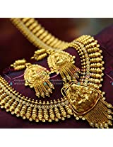 Temple Jewellery Gold Plated Antique Long Necklace Traditional Haram in Gold Designs