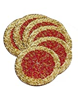 AsiaCraft Red & Gold Décor Indian Handmade Beaded Coffee, Tea Coaster 4.2 Inches Set of 6