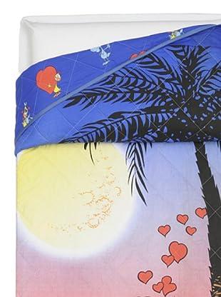 Cartoons Home Quilt Singolo Lupo Alberto Sotto La Palma (blu/arancio)