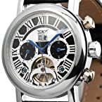 ESS Men's Tourbillon Style Stainless Steel Date Elegant Automatic Mechanical Watch WM255 White