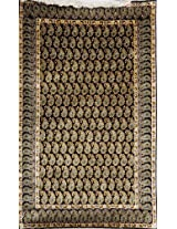 Exotic India Black Kashmiri Carpet with with Knotted Piasleys All-Over - Pure Silk on Cotton