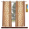 Avioni Home Fancy Rich Look brown flowers with stripes Eyelet curtain polyester Material (4 feet X 7 feet)(set of 2)