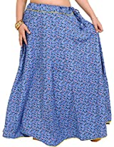 Exotic India Drawstring Long Ghagra Skirt with Printed Leaves and Piping - Color MarinaGarment Size Free Size