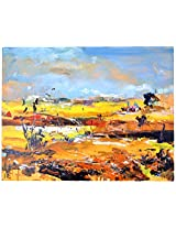 Liflad Artmart Acrylic and Canvas Abstract Landscape Painting (61 cm x 61 cm)