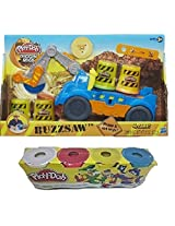 Play Doh Diggin Rigs Buzzsaw Set W/ Assorted Colors 4pk Mega Truck And Cutting Tools Creative Toys Clay (4pk Colors May Vary From Picture)