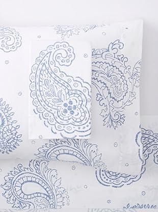 Belle Époque Paisley Sateen Sheet Set (White/Blue)