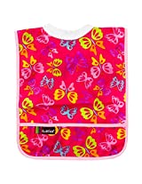 Kushies Rib-Neck Waterproof Bib Infant - Toddler, Fuchsia Butterfly