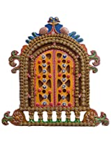 ANIKA CREATIONS Wooden Decorative Jharoka - 46 cm x 1 cm x 46 cm, Multicolour