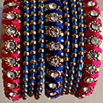 METAL BANGLE SET WITH STONES WRAPPED WITH PINK & BLUE SILK THREAD