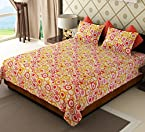Home Candy Polka Cotton Double Bed Sheet with 2 Pillow Covers - Pink