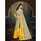 Yellow Colour Designer Georgette Saree Sari With Dupion Blouse Piece