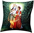 Aapno Rajasthan Krishna and Radha Printed Velvet Cushion Cover - Peacock Blue